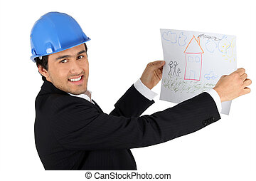 Architect holding kids drawing of a house