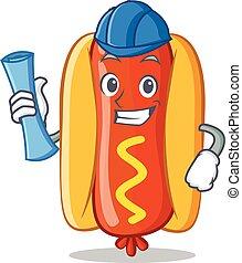 Architect Hot Dog Cartoon Character