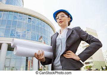 architect, houden, bouwsector, plans.
