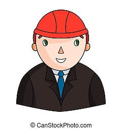 Architect icon in cartoon style isolated on white background. Architect symbol stock vector illustration.