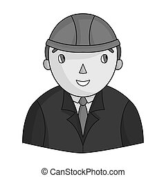 Architect icon in monochrome style isolated on white background. Architect symbol stock vector illustration.
