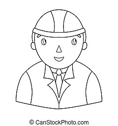 Architect icon in outline style isolated on white background. Architect symbol stock vector illustration.