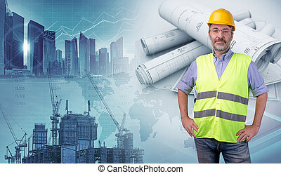 architect in a construction industry concept background, 3d illustration