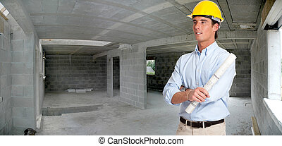 Architect in a house in construction