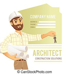 Architect in helmet with blueprints and keys in hand against...