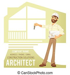 Architect in helmet with blueprints and keys in hand against background of constructed house, cottage