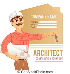 Architect in helmet with blueprints and keys in hand against background