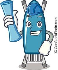 Architect iron board character cartoon vector illustration