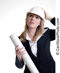 Architect lady - Architect holding on to hard hat