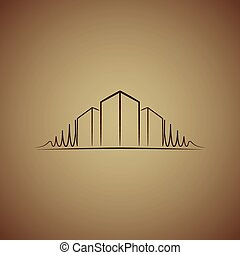 Architect logo over brown