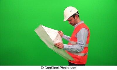 Architect Man Analyzing Scheme Project Plan