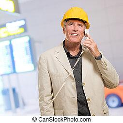 Architect Man Talking On Telephone