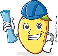Architect mango character cartoon mascot vector illustration