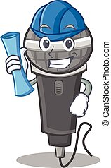 Architect microphone cartoon character design