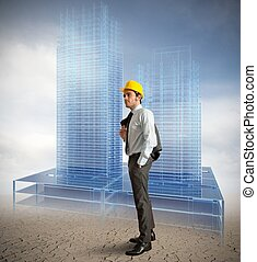 Architect modern buildings