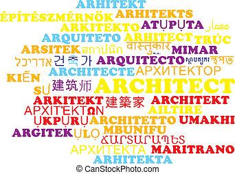 Architect multilanguage wordcloud background concept