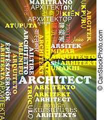 Architect multilanguage wordcloud background concept glowing