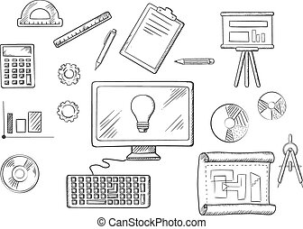 Development books blueprint development word on blueprint vector architect or education sketched icons malvernweather Images
