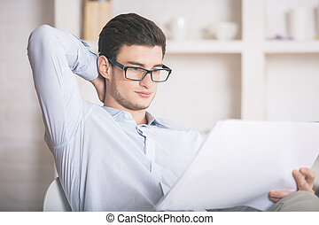 Architect or engineer working in office