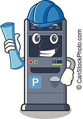 Architect parking vending machine the cartoon shape