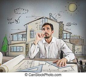 architect, peinzend