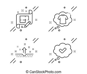 Architect plan, Clean skin and T-shirt line icons set. Approved sign. Engineering plan, Cosmetics, Laundry shirt. Comic message. Business set. Line architect plan outline icon. Vector