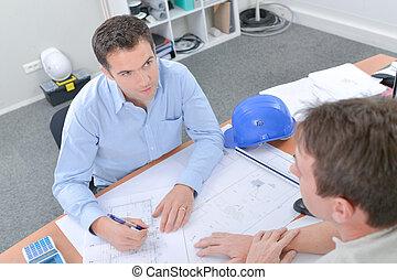 architect, plannen, kantoor