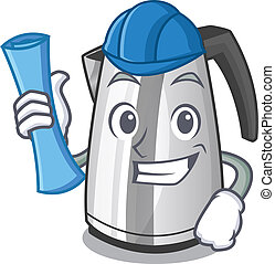 Architect plastic electric kettle isolated on cartoon