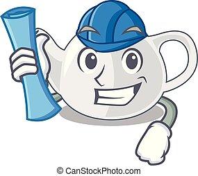 Architect porcelain teapot ceramic isolate on mascot