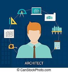 Architect profession icons set in flat design style isolated...