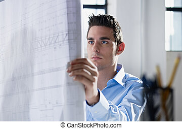 architect reading blueprint in office - adult caucasian male...