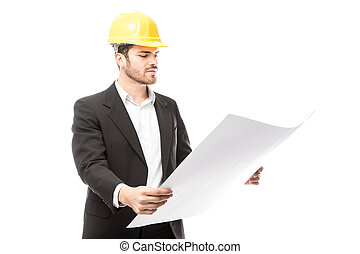 Architect reviewing building plans