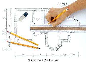 Architect rolls and plans.architectural plan,technical...