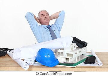 Architect sat at desk
