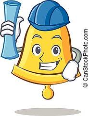 Architect school bell character cartoon