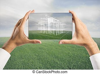 Architect showing new house project with tablet