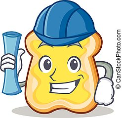 Architect slice bread cartoon character vector art...