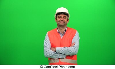 Architect Smiling on Green Screen