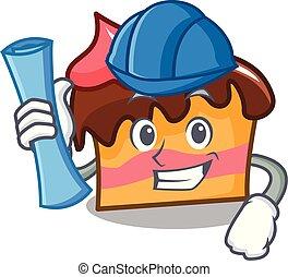 Architect sponge cake character cartoon vector illustration