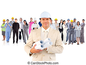 Architect standing in front of diverse career group