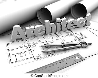 Architect - 3d illustration of architect sign over...