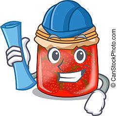 Architect strawberry marmalade in glass jar of cartoon