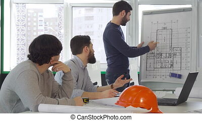 Architect team disscusses project of the building