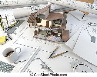 architect, tekening, tafel, met, gedeelte, model