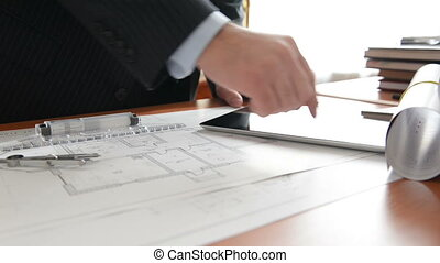 Architect using tablet pc