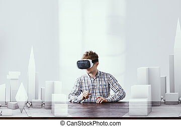 Architect using vr goggles - Modern architect using vr...