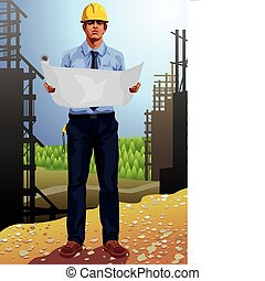 Vector illustration of a male architect studying blueprints at a construction site. This image is part of my profession set.