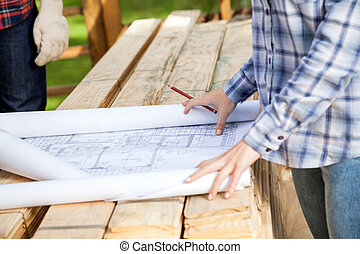 Architect With Blueprint At Site