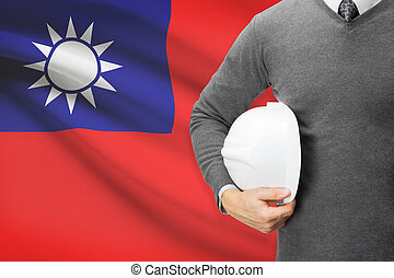 Architect with flag on background  - Republic of China - Taiwan