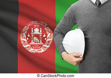 Architect with flag on background - Afghanistan